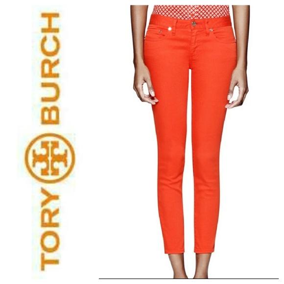 3320511c39 TORY BURCH Orange Alexa Cropped Skinny Jeans. M 5a8b999c739d4874a25dd76d